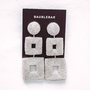 NWT BaubleBar Silver Square Drop Earrings